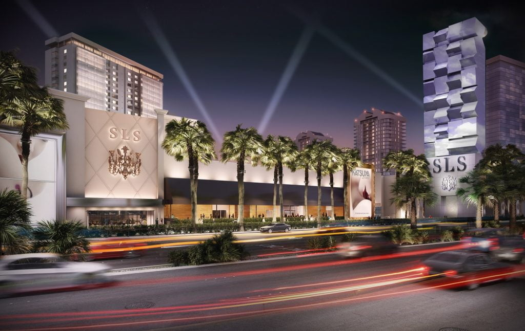 SLS LV Exterior Rendering Night Curio – A Collection by Hilton